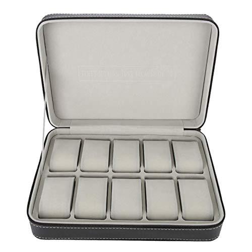 Caja de reloj, caja de reloj de viaje Caja de reloj 28 x 20 x 7,5 cm Capacidad razonable 10 rejillas Diseño de tablero intermedio para guardar anillos de reloj, aretes, pulseras, collares