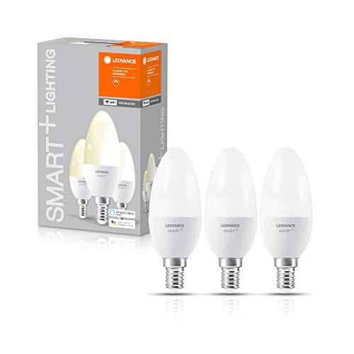 LEDVANCE Smarte LED-Lampe mit WiFi Technologie, Sockel E14, Dimmbar, Warmweiß (2700 K), ersetzt Glühlampen mit 40 W, SMART+ WiFi Candle Dimmable, 3er-Pack