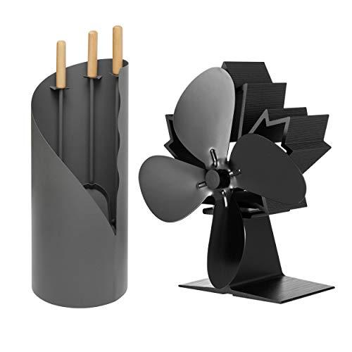 raik KS3629 Kaminbesteck Otto 3-teilig + stromloser Kaminventilator/Ofenventilator 4-Blatt, Set