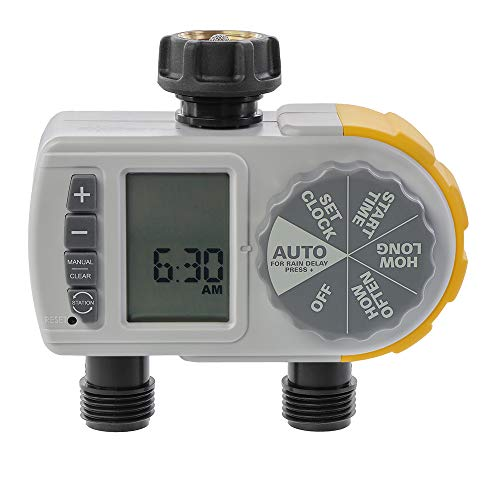 Solterra 28153 Single-Dial Two-Outlet Hose Timer, Gray