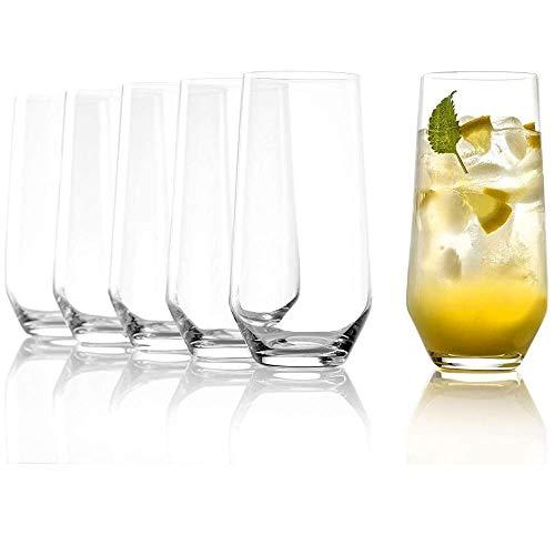 STÖLZLE LAUSITZ Bicchieri 390ml da acqua e long drink serie Quatrophil I Set di 6 bicchieri lavabili in lavastoviglie I Bicchieri grandi da succo I Cristallo senza piombo I Alta qualità