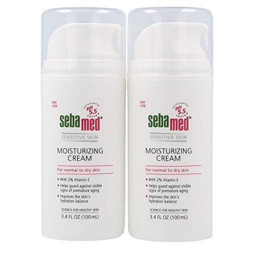 Sebamed Moisturizing Face Cream for Sensitive Skin with Pump 3.4 Fluid Ounces (100 milliliters) Vitamin E pH 5.5 Dermatologist Recommended 2-Pack (Set of 2)