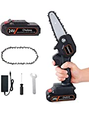 Chulovs Mini Chainsaw, 4-Inch Cordless Electric Protable Chainsaw One-Hand Lightweight, Pruning Shears Chainsaw for Tree Branch Wood Cutting with Spare Battery + Chain (Black)