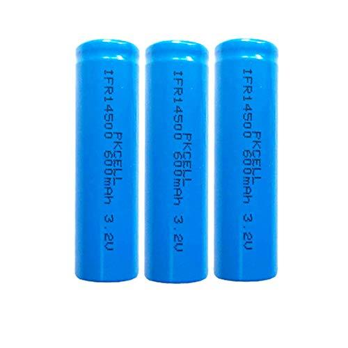 3,2 Volt Solarbatterie AA 600mAh Wiederaufladbare Batterie Flat Top für Taschenlampenbrenner (3 Stück)
