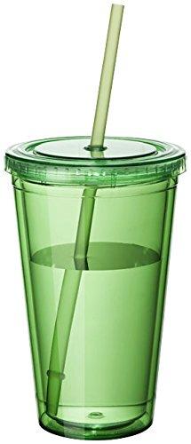 noTrash2003 Plastikbecher doppelwandig Tasse Becher Deckel Strohhalm Smoothie Saft Kaffee Eiskaffee