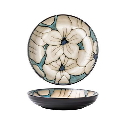 ZZRR Vajilla Creativa Pintada a Mano, vajilla para el hogar, Superficie de cerámica esmaltada Activa, Adecuada para cocinas domésticas, Azul Dulce (8.5 Pulgadas)