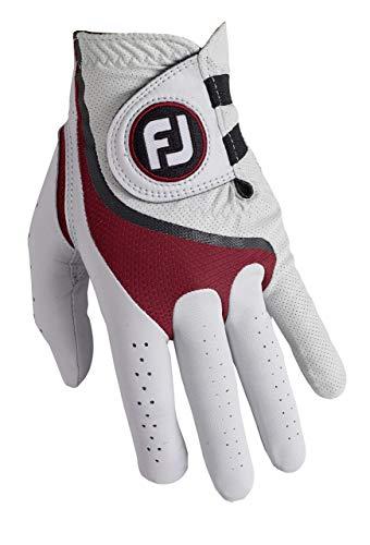 Footjoy Pro FLX Guante de Golf, Hombre, Blanco/Rojo, S