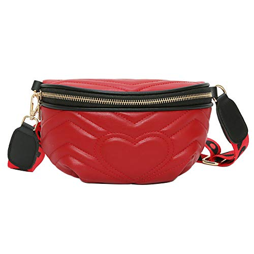 RERU Hüfttasche Frau Taille Pack Liebe Crossbody Schulter Tasche Mode Wilden Brust Tasche sac Femme gürtel Tasche Frauen W Red