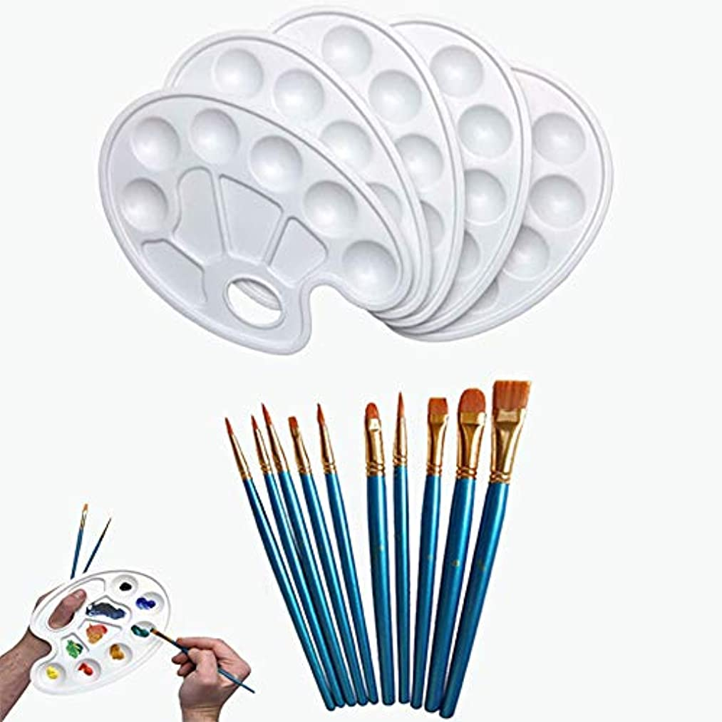 Paint Tray Palettes with Thumb Hole 5pieces with Nylon Paint Brush Set(10pieces)- Best for Watercolor Painting,Body,Nails,Facial Painting,Arts and Crafts Painting