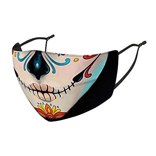 NAQ Timess Halloween Mundschutz 3D Horror Ugly Bandana Waschbar mit Motiv Lustige Lippen Mund Wiederverwendbar Staubdicht Motorrad Halstuch Smiley Lustig Mundschutz (6)