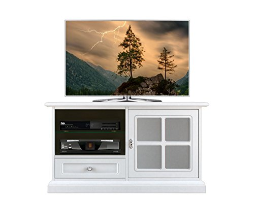 Arteferretto Meuble TV Taille Moyenne 1 Porte vitrée 1 tiroir avec Niche pour Rangement décodeur ou DVD, Structure laquée Blanc, livré monté