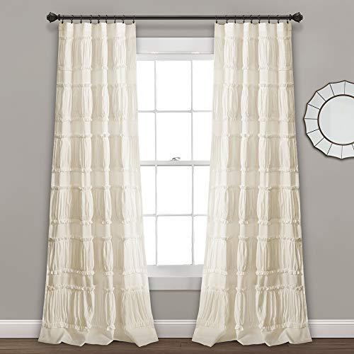 "Lush Decor, Ivory Nova Ruffle Window Curtain Panel Pair, 84"" x 42"", 84"" L"