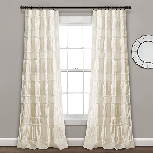 "Lush Decor, Ivory Nova Ruffle Window Curtain Panel Pair, 84"" x 42"", 84"" L"