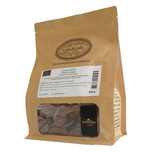 Valrhona - Jivara 40% chocolat au lait de couverture Mariage de Grands Crus fèves 500 g