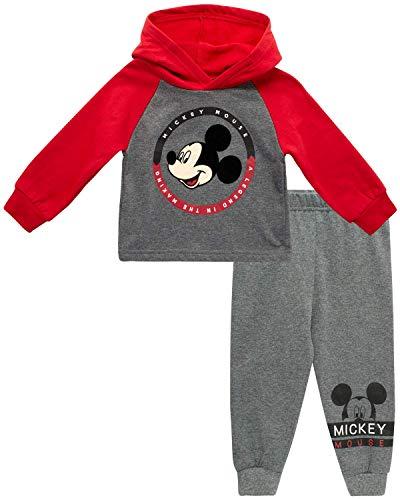 Disney Baby Girls' Minnie Mouse 2 Piece Overall Set - Fleece Romper Long Sleeve T-Shirt Set (Newborn/Infant) (Mickey Light Grey/Black, 12 Months)