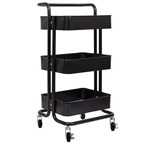 WOLTU Küchenwagen Rollwagen Servierwagen Küchentrolley mit Griff Metall Roll Regal für Küche Bad Büro mit Rollen 3 Etagen Schwarz RW004sz