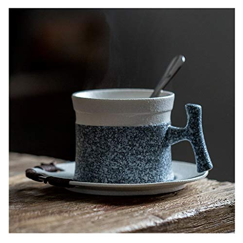 wanhaishop Coffee Mug European Style Frosted Coffee Cup and Saucer Set Personality Creative Home Coffee Cup with Spoon and Saucer Simple Ceramic Coffee Cup and Saucer Tea Cup