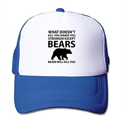 AOHOT Herren Damen Baseball Caps,Hüte, Mützen, Classic Baseball Cap, What Doesn't Kill You Makes Stronger Except Bears Unisex Trucker Hat Cap-Polo Style