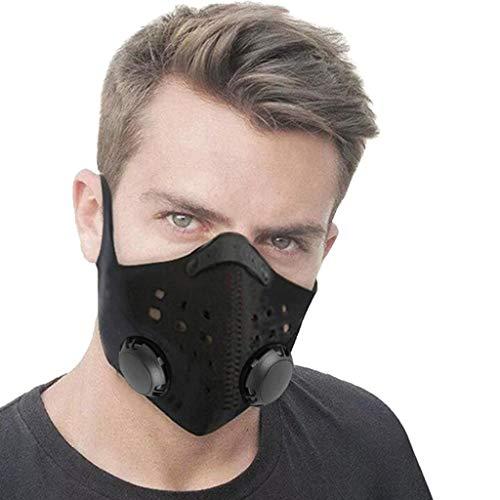 Skang 1/2pcs Protector Facial Tela con Válvulas de Respiración para Bicicleta,Esquí,Casco duro Reutilizables Proteccion para Cubreboca Adulto
