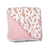 Bebe au Lait Classic Muslin Snuggle Blanket, Pink Leaves + Cotton Candy