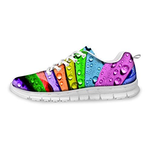 AXGM Herren Laufschuhe Turnschuhe Straßenlaufschuhe Schuhe Bunte Regenbogen Pflanze Tau Druck Mode Sportschuhe Fitness Atmungsaktiv Sneakers CC30 EU 41
