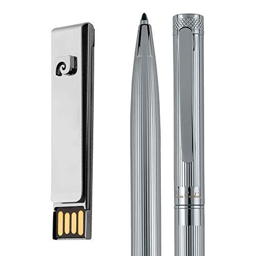 PIERRE CARDIN Millenium - Juego de Memoria USB de 32 GB con Clip y bolígrafo Giratorio (Metal), Color Plateado