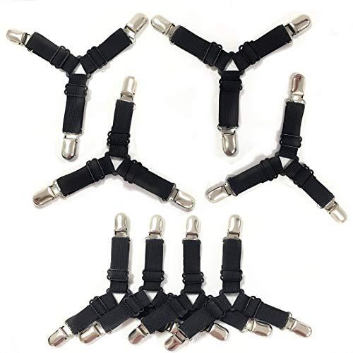 WINSTON-UK Bettlakenhalter, Bettlakenhalter, Bettlakenklemmen, verstellbare Dreiecke, rutschfest, elastisch, für Matratzen, Ecken, 8 Stück