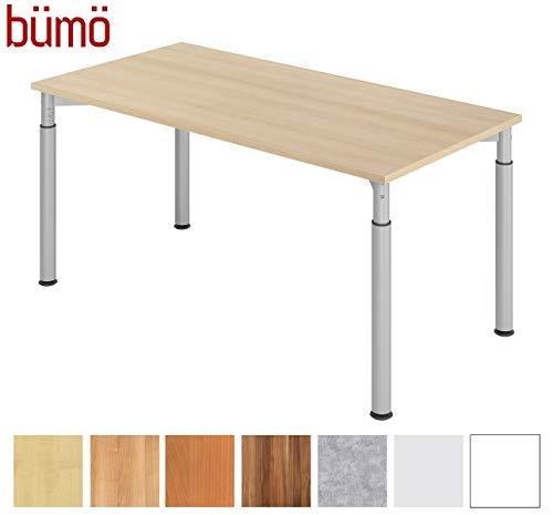bümö Stabiler Schreibtisch höhenverstellbar 160 x 80 cm | Bürotisch Platte: Eiche - Gestell: Silber | Büroschreibtisch mit Höheneinstellung | Tisch für's Büro