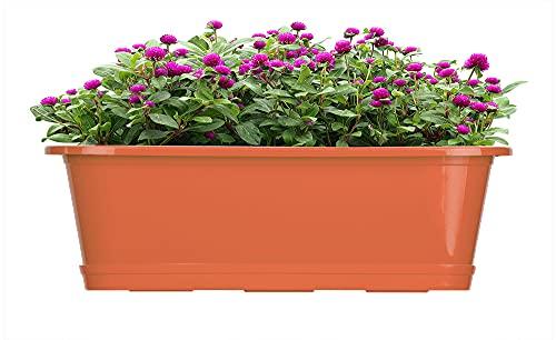 BigDean Blumenkasten 3er Set für den Balkon - 40 cm - Balkonkasten für Blumen mit Untersetzer - Made in Europe - Pflanzkasten Terrakotta aus Kunststoff