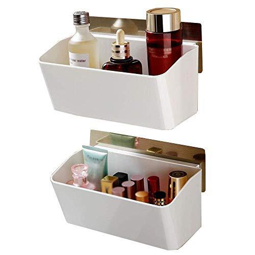 CESULIS Estante de baño Estantes de baño Cocina estante caja de almacenamiento para cosméticos montaje en pared 2layer baño plástico inodoro inodoro organizadores/bastidores