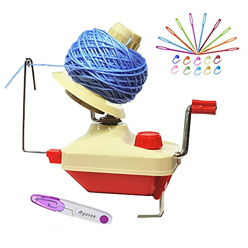 Yarn Ball Winder, Hands Operated Swift Yarn Fiber String Ball Wool Winder Machines for Family+10PS Knitting Stitch Markers+10PS Plastic Needles+1PS Scissors (22)