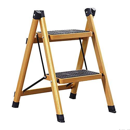 SLRMKK Leiter Home Folding Step Hocker-Zwei-Stufen-/DREI-Stufen-Leiter, rutschfeste Pedalleiter, isolierte Leiter, faltbares tragbares Gold