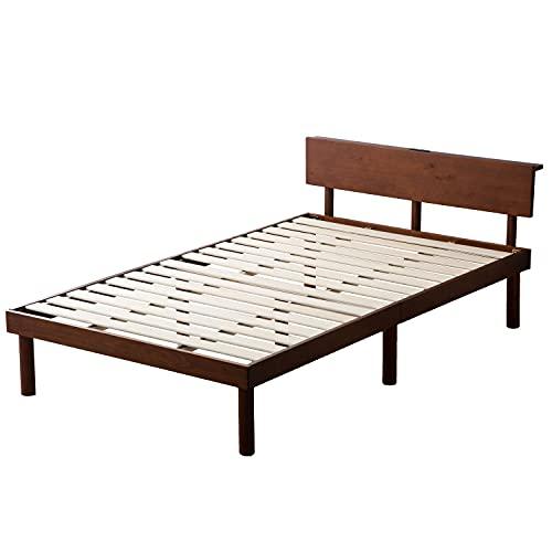 タンスのゲン ベッド セミダブル すのこベッド 宮棚 2口コンセント付き ベッドフレーム 耐荷重200kg 天然木 ベッド下収納 セミダブルベッド ブラウン 49600786 01(74871)