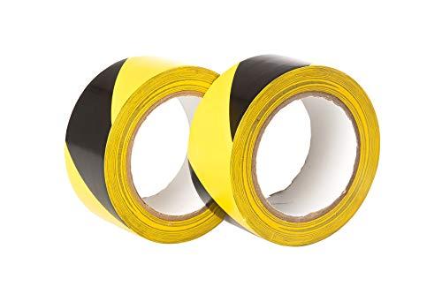 GTSE Premium - Cinta adhesiva de advertencia de peligro (50 mm x 33 m, 2 rollos), color negro y amarillo