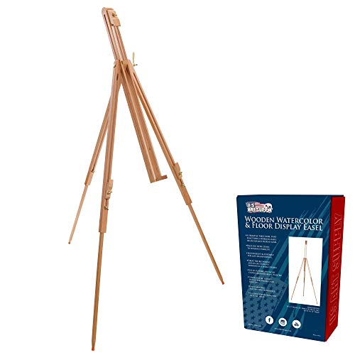 U.S. Art Supply Harbor 72' High Wood Artist Watercolor Field and Display Easel Stand - Beechwood Adjustable Floor & Tabletop Tripod, Holds Painting Canvas Up to 42' Vertical, 28' Horizontal, Portable