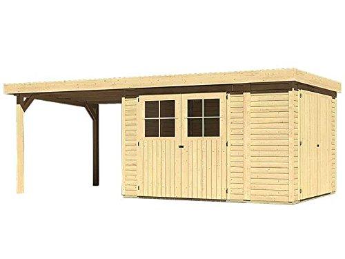 Karibu Woodfeeling Gartenhaus Laura 4 natur 19 mm mit Anbauschrank und Anbaudach 2,75 Meter