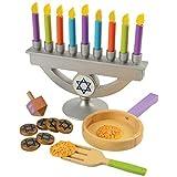 KidKraft Wooden Chanukah/Hanukkah Menorah, Dreidel, Latke and Gelt Toy Set with 22 Pieces, Gift for Ages 3+