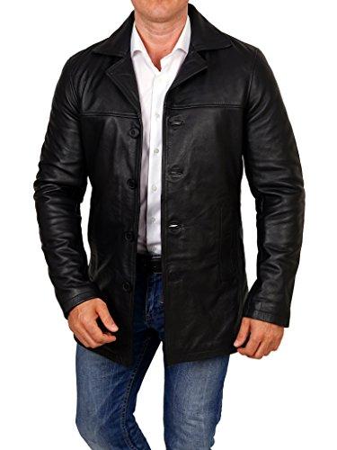lines by cris d. fedd Echte Herren Lederjacke aus Rindsleder, Regular Fit, Mantel Leather Jacket Coat, Größe S, schwarz