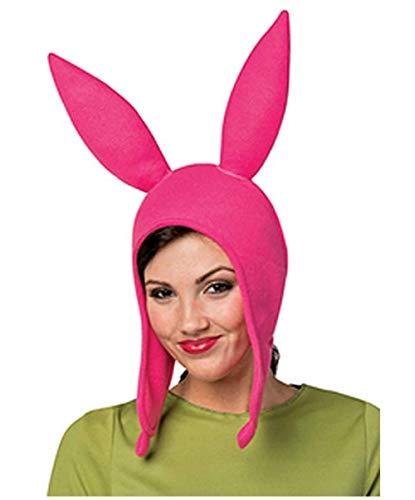 Bob's Louise Rabbit Ear Hat Burgers Beanie Cosplay Costume Halloween Fleece Hat Bunny Ears (Mom, Pink)