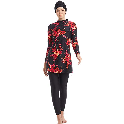 Seafanny schlichte muslimische Bademode Islamischer Badeanzug Hijab Bademode volle Abdeckung Bademode Muslim Schwimmen Strand Bademode Badeanzug Gr. XL (UK Größe 38-42), Schwarz