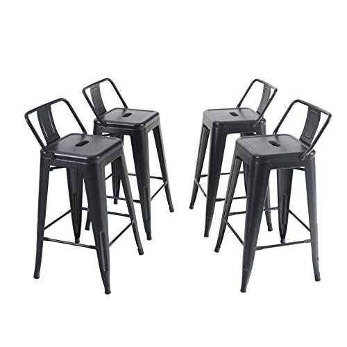 Sophia & William Metal Bar Stool 24' Counter Height Industrial Bar Chair Set of 4 Dining Chairs with Low Back for Kitchen Bar Indoor Outdoor Support 330lbs, (Metal Black)