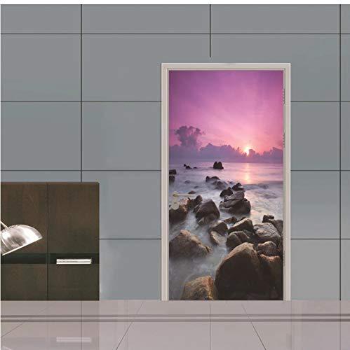 Pegatinas de puerta de mar púrpura para renovación de puertas de madera de dormitorio carteles impermeables fáciles de limpiar murales pintura decorativa