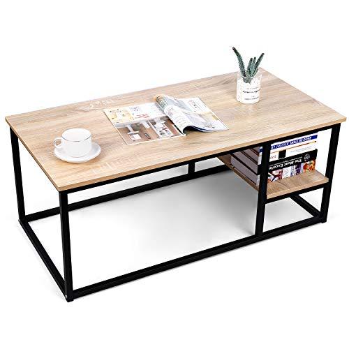 amzdeal Mesa de Centro,Mesitas de salón para el café, mesa de salón de madera moderna con almacenamiento, 102 x 50 x 40 cm, mesa rectangular con marco de metal,Natural