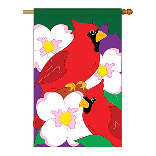 Two Group - Twin Cardinals Garden Friends - Everyday Birds Applique Decorative Vertical House Flag 28' x 44'