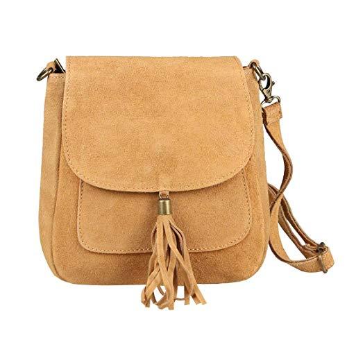 Made in Italy Damen Leder Tasche Messenger Bag Henkeltasche Wildleder Handtasche Umhängetasche Ledertasche Schultertasche Beuteltasche Fransen Cross-Over Cognac