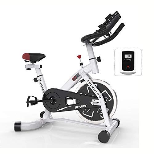 WGFGXQ Bicicleta estática para Interiores con Monitor Digital LCD, máquina de Entrenamiento Cardiovascular, Bicicleta Vertical, transmisión por Correa, Bicicletas estáticas Ajustables para Gimnasio