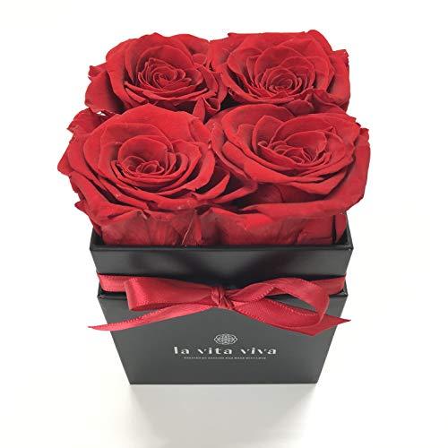 LA VITA VIVA Quadratisch Blumenbox, rosenbox echte konservierte rosen für sie, 3 Jahre haltbar,Infinity Rosen mit intensivem Rosenduft als Geschenk zum Geburtstag, Valentinstag, HochzeitstagfürPaare