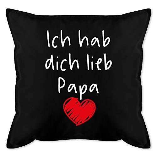 Shirtracer Vatertagsgeschenk Kissen - Ich hab Dich lieb Papa Herz weiß - Unisize - Schwarz - Papa ich Liebe Dich Geschenk - GURLI Kissen mit Füllung - Kissen 50x50 cm und Dekokissen mit Füllung