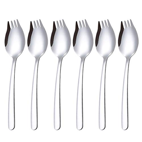 Sporks 6Pack 18/10 SUS304 Stainless Steel Fork Spoon 75Inch Dinner Fork for Ice Cream Scoops and Salad Forks Fruit Desserts Pasta Etc
