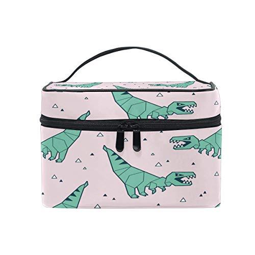 Trousse de toilette en toile avec motif dinosaure vert et rose